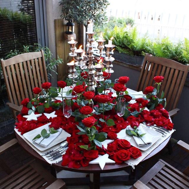 Christian Morel Fleuriste Paris - Evenement Table rouge