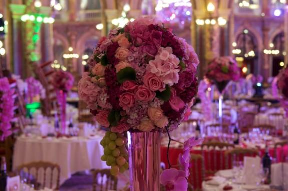 centre de table boule de roses